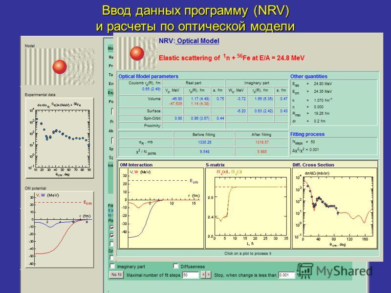 Ввод данных программу (NRV) и расчеты по оптической модели