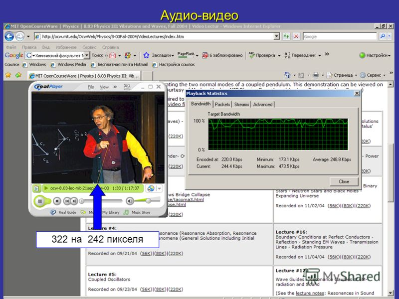 Аудио-видео 322 на 242 пикселя