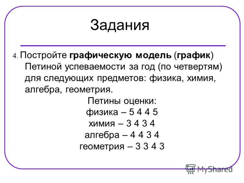 Задания 4. Постройте графическую модель (график) Петиной успеваемости за год (по четвертям) для следующих предметов: физика, химия, алгебра, геометрия. Петины оценки: физика – 5 4 4 5 химия – 3 4 3 4 алгебра – 4 4 3 4 геометрия – 3 3 4 3