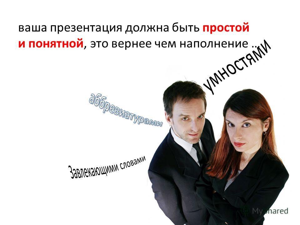 ваша презентация должна быть простой и понятной, это вернее чем наполнение …
