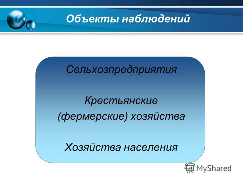 Сельхозпредприятия Крестьянские (фермерские) хозяйства Хозяйства населения Объекты наблюдений