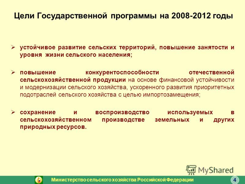 Цели Государственной программы на 2008-2012 годы устойчивое развитие сельских территорий, повышение занятости и уровня жизни сельского населения; повышение конкурентоспособности отечественной сельскохозяйственной продукции на основе финансовой устойч