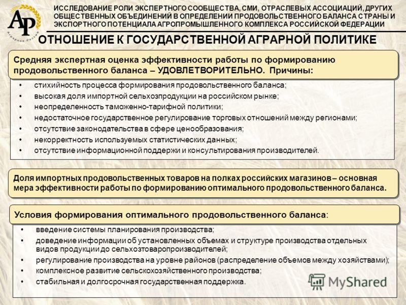 стихийность процесса формирования продовольственного баланса; высокая доля импортной сельхозпродукции на российском рынке; неопределенность таможенно-тарифной политики; недостаточное государственное регулирование торговых отношений между регионами; о