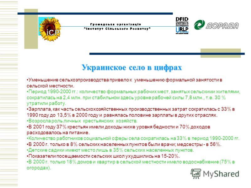 Украинское село в цифрах Уменьшение сельхозпроизводства привело к уменьшению формальной занятости в сельской местности. Период 1990-2000 гг.: количество формальных рабочих мест, занятых сельскими жителями, сократилась на 2,4 млн. при стабильном здесь