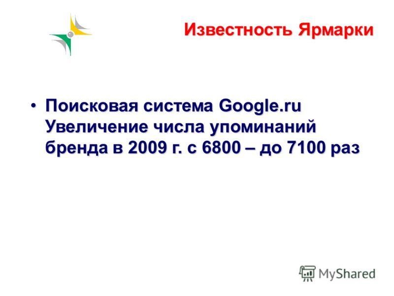 Известность Ярмарки Поисковая система Google.ru Увеличение числа упоминаний бренда в 2009 г. с 6800 – до 7100 разПоисковая система Google.ru Увеличение числа упоминаний бренда в 2009 г. с 6800 – до 7100 раз