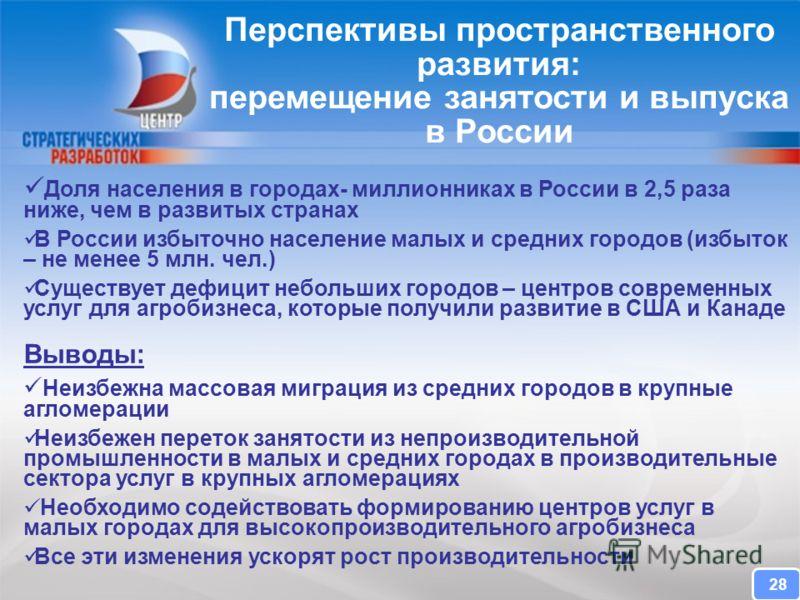 CENTER FOR STRATEGIC RESEARCH Доля населения в городах- миллионниках в России в 2,5 раза ниже, чем в развитых странах В России избыточно население малых и средних городов (избыток – не менее 5 млн. чел.) Существует дефицит небольших городов – центров