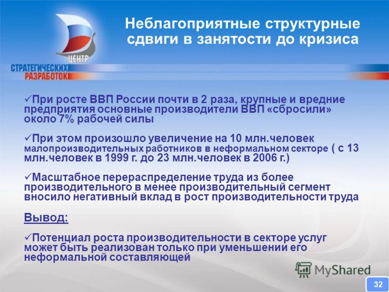 CENTER FOR STRATEGIC RESEARCH При росте ВВП России почти в 2 раза, крупные и вредние предприятия основные производители ВВП «сбросили» около 7% рабочей силы При этом произошло увеличение на 10 млн.человек малопроизводительных работников в неформально