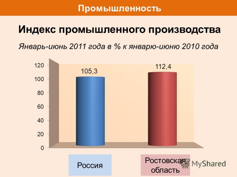 Промышленность Январь-июнь 2011 года в % к январю-июню 2010 года Россия Ростовская область Индекс промышленного производства