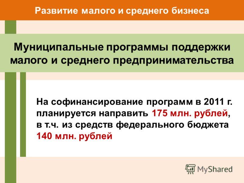 На софинансирование программ в 2011 г. планируется направить 175 млн. рублей, в т.ч. из средств федерального бюджета 140 млн. рублей Развитие малого и среднего бизнеса Муниципальные программы поддержки малого и среднего предпринимательства