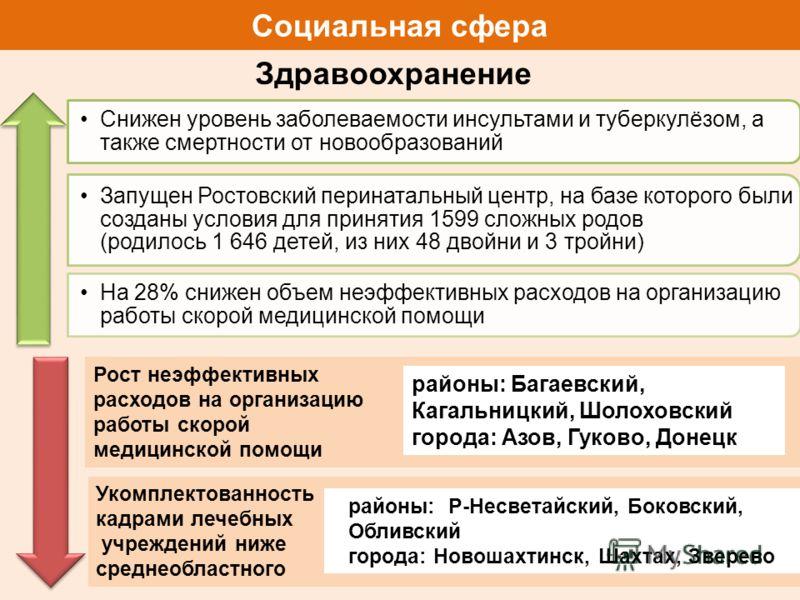 Укомплектованность кадрами лечебных учреждений ниже среднеобластного Социальная сфера Здравоохранение Снижен уровень заболеваемости инсультами и туберкулёзом, а также смертности от новообразований Запущен Ростовский перинатальный центр, на базе котор