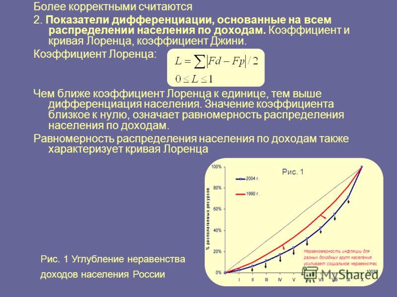 Более корректными считаются 2. Показатели дифференциации, основанные на всем распределении населения по доходам. Коэффициент и кривая Лоренца, коэффициент Джини. Коэффициент Лоренца: Чем ближе коэффициент Лоренца к единице, тем выше дифференциация на