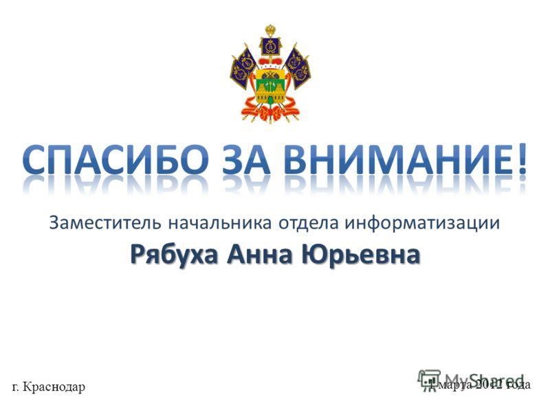 Заместитель начальника отдела информатизации Рябуха Анна Юрьевна г. Краснодар 1 марта 2012 года
