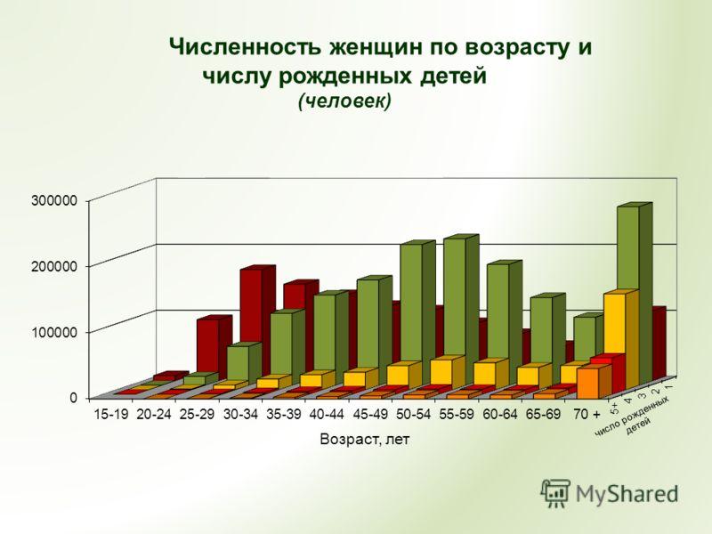 Численность женщин по возрасту и числу рожденных детей (человек)