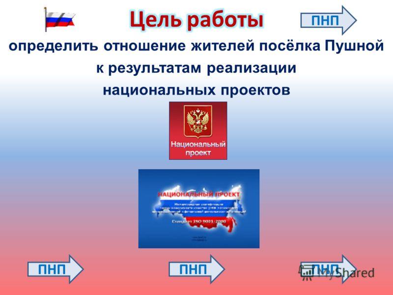 определить отношение жителей посёлка Пушной к результатам реализации национальных проектов ПНП