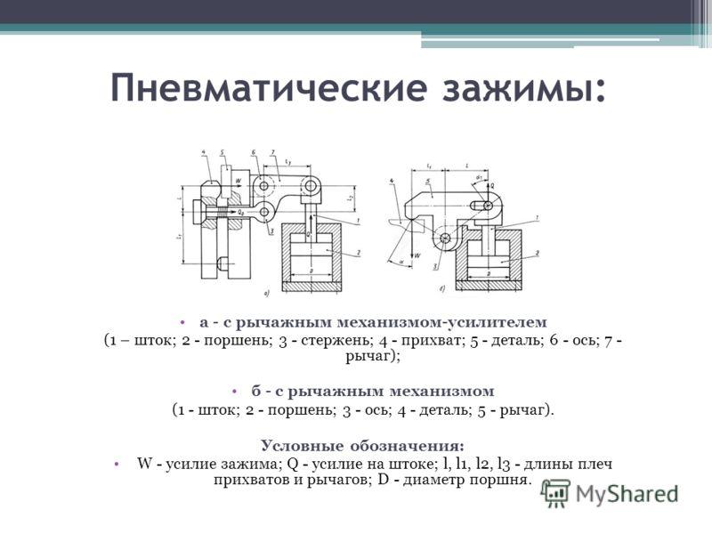 Пневматические зажимы: а - с рычажным механизмом-усилителем (1 – шток; 2 - поршень; 3 - стержень; 4 - прихват; 5 - деталь; 6 - ось; 7 - рычаг); б - с рычажным механизмом (1 - шток; 2 - поршень; 3 - ось; 4 - деталь; 5 - рычаг). Условные обозначения: W
