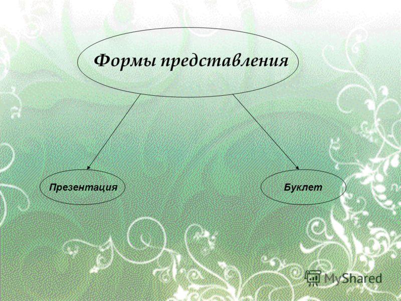 Формы представления ПрезентацияБуклет
