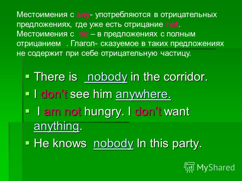 There is nobody in the corridor. There is nobody in the corridor. I dont see him anywhere. I dont see him anywhere. I am not hungry. I dont want anything. I am not hungry. I dont want anything. He knows nobody In this party. He knows nobody In this p