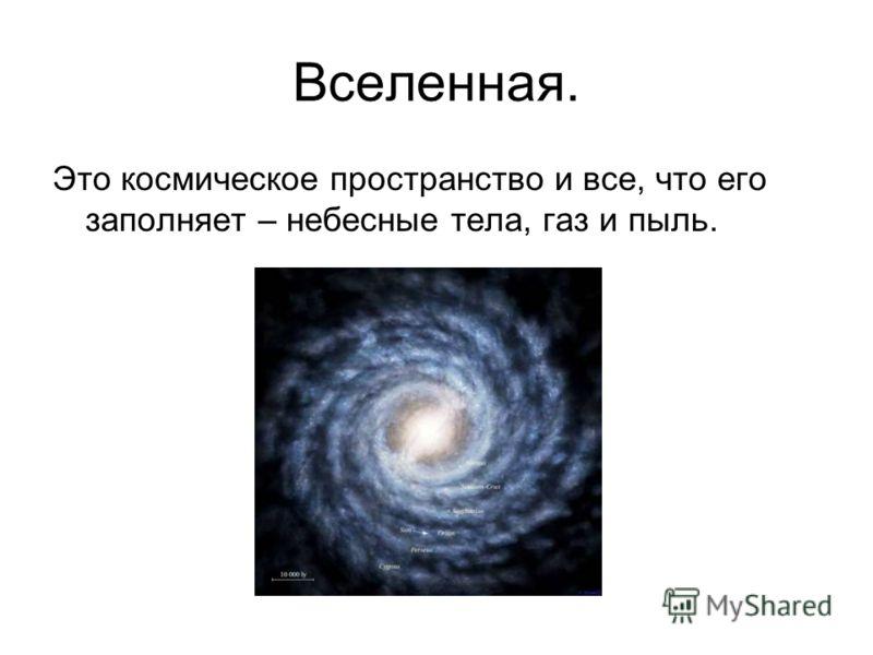 Вселенная. Это космическое пространство и все, что его заполняет – небесные тела, газ и пыль.