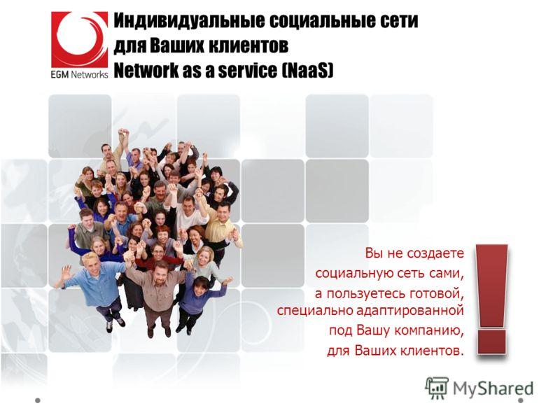 Индивидуальные социальные сети для Ваших клиентов Network as a service (NaaS) Вы не создаете социальную сеть сами, а пользуетесь готовой, специально адаптированной под Вашу компанию, для Ваших клиентов.