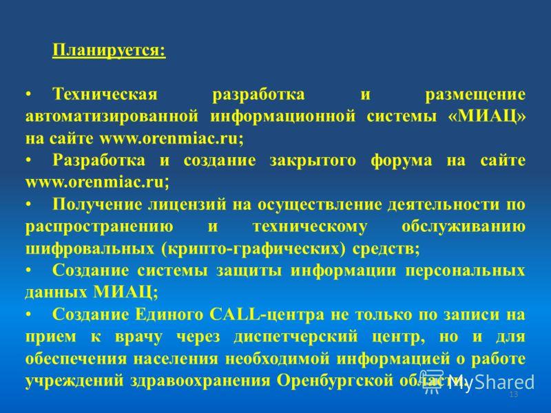 Планируется: Техническая разработка и размещение автоматизированной информационной системы «МИАЦ» на сайте www.orenmiac.ru; Разработка и создание закрытого форума на сайте www.orenmiac.ru ; Получение лицензий на осуществление деятельности по распрост
