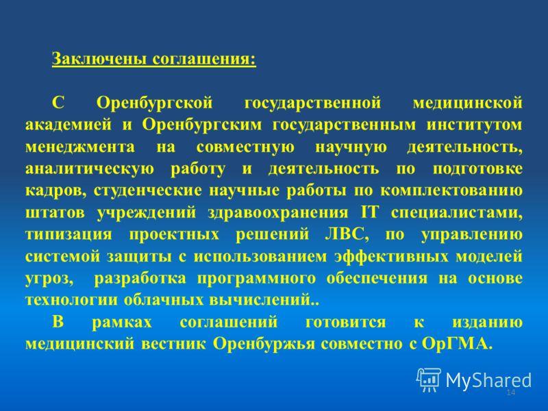 Заключены соглашения: С Оренбургской государственной медицинской академией и Оренбургским государственным институтом менеджмента на совместную научную деятельность, аналитическую работу и деятельность по подготовке кадров, студенческие научные работы