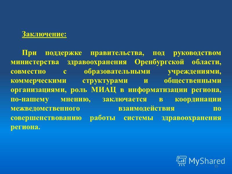 Заключение: При поддержке правительства, под руководством министерства здравоохранения Оренбургской области, совместно с образовательными учреждениями, коммерческими структурами и общественными организациями, роль МИАЦ в информатизации региона, по-на