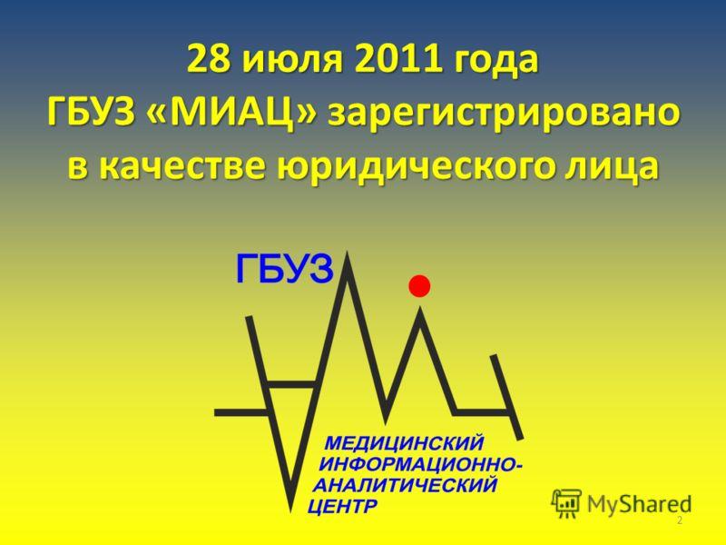 28 июля 2011 года ГБУЗ «МИАЦ» зарегистрировано в качестве юридического лица 2