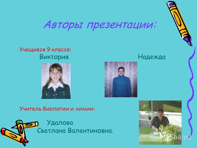 Учащиеся 9 класса: Виктория Надежда Учитель биологии и химии: Удалова Светлана Валентиновна. Авторы презентации:
