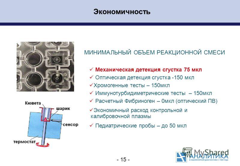 - 15 - МИНИМАЛЬНЫЙ ОБЪЕМ РЕАКЦИОННОЙ СМЕСИ Механическая детекция сгустка 75 мкл Оптическая детекция сгустка -150 мкл Хромогенные тесты – 150мкл Иммунотурбидиметрические тесты – 150мкл Расчетный Фибриноген – 0мкл (оптический ПВ) Экономичный расход кон