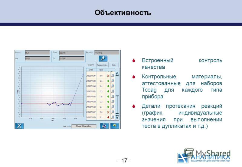 - 17 - Объективность Встроенный контроль качества Контрольные материалы, аттестованные для наборов Tcoag для каждого типа прибора Детали протекания реакций (график, индивидуальные значения при выполнении теста в дупликатах и т.д.)
