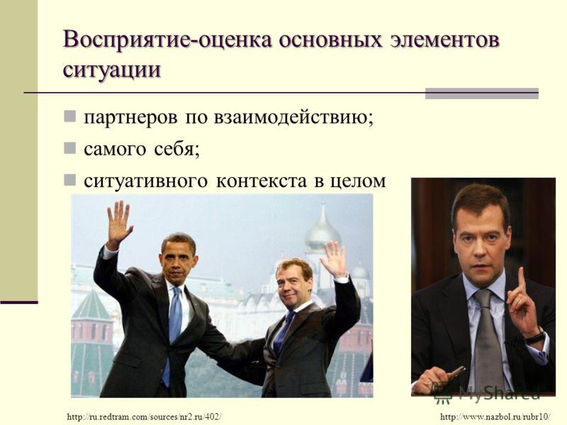 Восприятие-оценка основных элементов ситуации партнеров по взаимодействию; самого себя; ситуативного контекста в целом http://ru.redtram.com/sources/nr2.ru/402/http://www.nazbol.ru/rubr10/