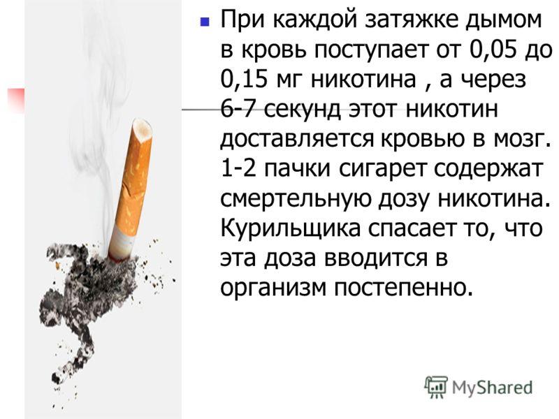 При каждой затяжке дымом в кровь поступает от 0,05 до 0,15 мг никотина, а через 6-7 секунд этот никотин доставляется кровью в мозг. 1-2 пачки сигарет содержат смертельную дозу никотина. Курильщика спасает то, что эта доза вводится в организм постепен