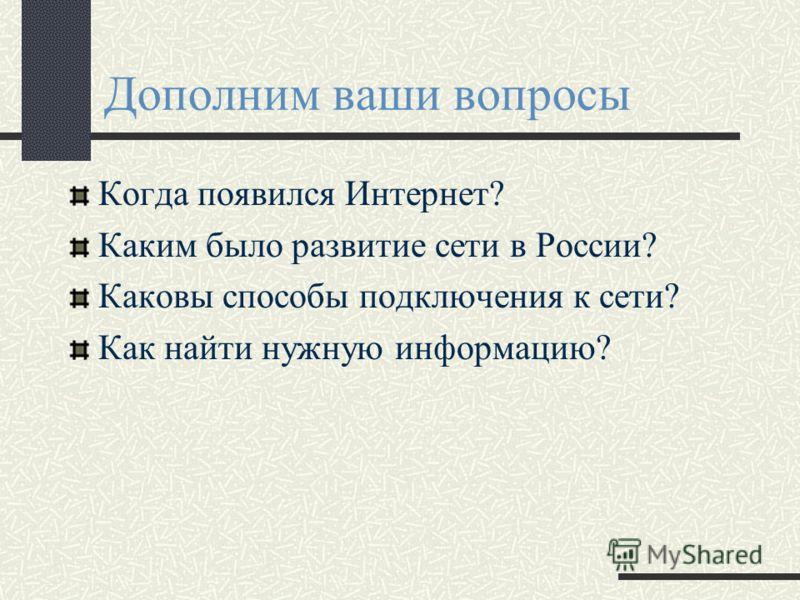 Дополним ваши вопросы Когда появился Интернет? Каким было развитие сети в России? Каковы способы подключения к сети? Как найти нужную информацию?
