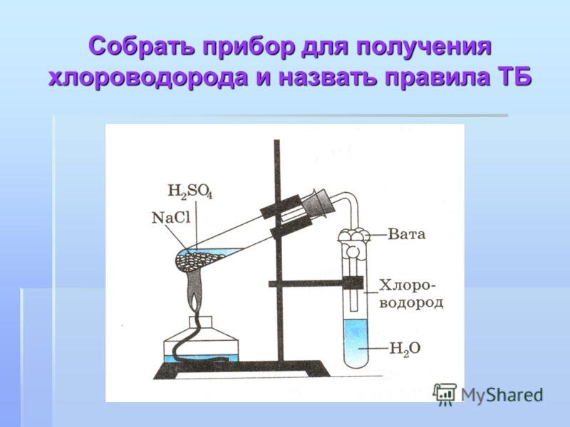 Собрать прибор для получения хлороводорода и назвать правила ТБ