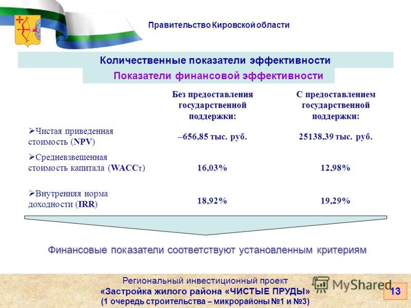 Правительство Кировской области 13 Количественные показатели эффективности Региональный инвестиционный проект «Застройка жилого района «ЧИСТЫЕ ПРУДЫ» (1 очередь строительства – микрорайоны 1 и 3) Показатели финансовой эффективности Без предоставления