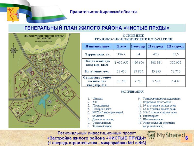 Правительство Кировской области 6 Региональный инвестиционный проект «Застройка жилого района «ЧИСТЫЕ ПРУДЫ» (1 очередь строительства – микрорайоны 1 и 3) ГЕНЕРАЛЬНЫЙ ПЛАН ЖИЛОГО РАЙОНА «ЧИСТЫЕ ПРУДЫ»