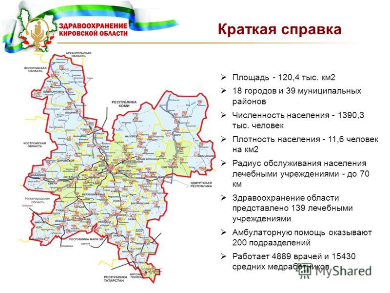 Краткая справка Площадь - 120,4 тыс. км2 18 городов и 39 муниципальных районов Численность населения - 1390,3 тыс. человек Плотность населения - 11,6 человек на км2 Радиус обслуживания населения лечебными учреждениями - до 70 км Здравоохранение облас