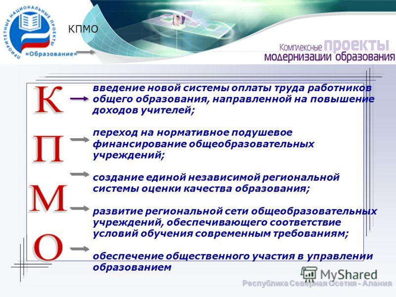 Республика Северная Осетия - Алания КПМО введение новой системы оплаты труда работников общего образования, направленной на повышение доходов учителей; переход на нормативное подушевое финансирование общеобразовательных учреждений; создание единой не