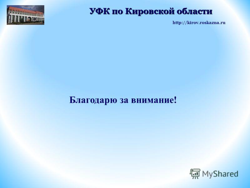 Благодарю за внимание! http://kirov.roskazna.ru УФК по Кировской области УФК по Кировской области