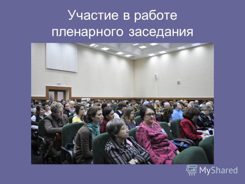 Участие в работе пленарного заседания