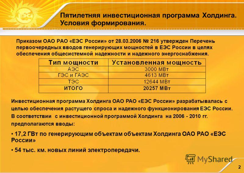 2 Инвестиционная программа Холдинга ОАО РАО «ЕЭС России» разрабатывалась с целью обеспечения растущего спроса и надежного функционирования ЕЭС России. В соответствии с инвестиционной программой Холдинга на 2006 - 2010 гг. предполагаются вводы: 17,2 Г
