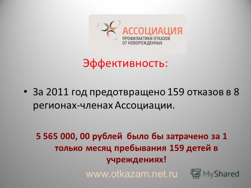 Эффективность: За 2011 год предотвращено 159 отказов в 8 регионах-членах Ассоциации. 5 565 000, 00 рублей было бы затрачено за 1 только месяц пребывания 159 детей в учреждениях! www.otkazam.net.ru