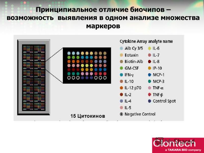 Принципиальное отличие биочипов – возможность выявления в одном анализе множества маркеров 15 Цитокинов