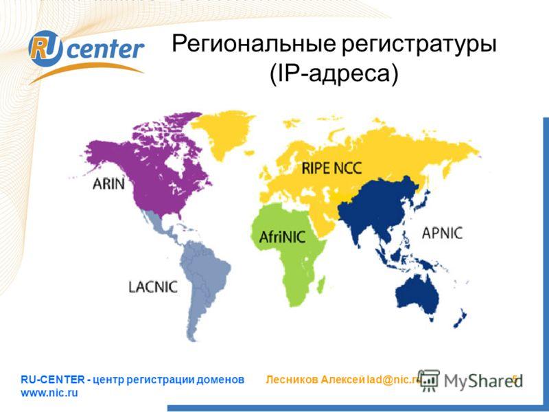 RU-CENTER - центр регистрации доменов www.nic.ru Лесников Алексей lad@nic.ru5 Региональные регистратуры (IP-адреса)
