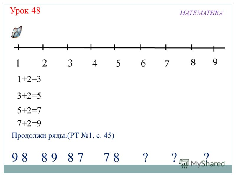 Урок 48 1324 5 7 6 МАТЕМАТИКА 8 9 1+2=3 3+2=5 5+2=7 7+2=9 Продолжи ряды.(РТ 1, с. 45) 9 8 8 9 8 7 7 8 ? ? ?