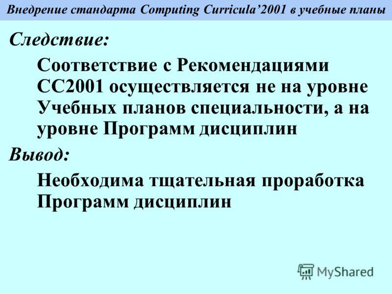 Внедрение стандарта Computing Curricula2001 в учебные планы Следствие: Соответствие с Рекомендациями СС2001 осуществляется не на уровне Учебных планов специальности, а на уровне Программ дисциплин Вывод: Необходима тщательная проработка Программ дисц