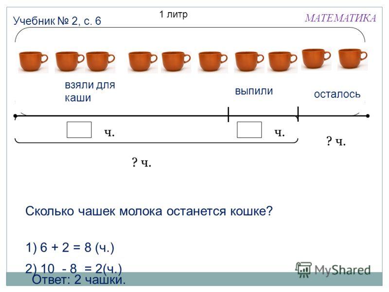 МАТЕМАТИКА Учебник 2, с. 6 1 литр взяли для каши выпили осталось ? ч. ч. ? ч. Сколько чашек молока останется кошке? 1) 6 + 2 = 8 (ч.) 2) 10 - 8 = 2(ч.) Ответ: 2 чашки.