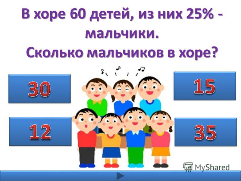 В хоре 60 детей, из них 25% - мальчики. Сколько мальчиков в хоре?