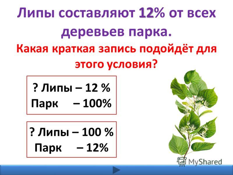 12 Липы составляют 12% от всех деревьев парка. Какая краткая запись подойдёт для этого условия? ? Липы – 12 % Парк – 100% ? Липы – 100 % Парк – 12%