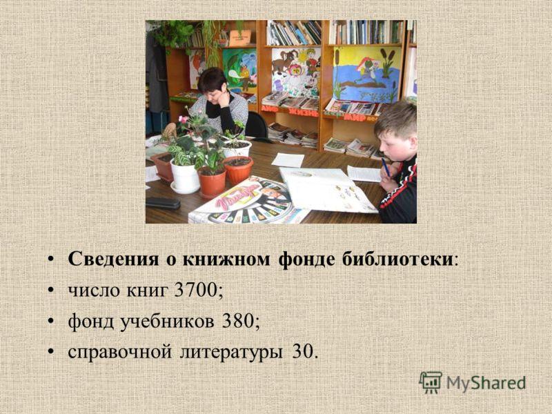 Сведения о книжном фонде библиотеки: число книг 3700; фонд учебников 380; справочной литературы 30.